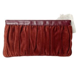 NOS VTG Viva Bags California suede pleated clutch